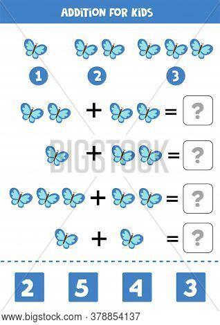 Addition With Cute Blue Butterflies. Math Worksheet For Kids.