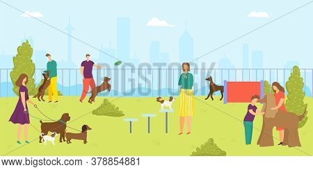 Park For Dog Pet, Vector Illustration. Man Woman Character And Cartoon Happy Animal, Happy Young Peo