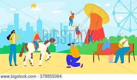 Family In Amusement Park With Carousel, Fun Entertainment At Fairground Vector Illustration. Happy M