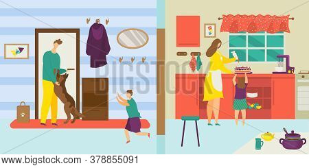 Family At Home Lifestyle, Vector Illustration. Father Mother Character With Kid Together, Cartoon Ha