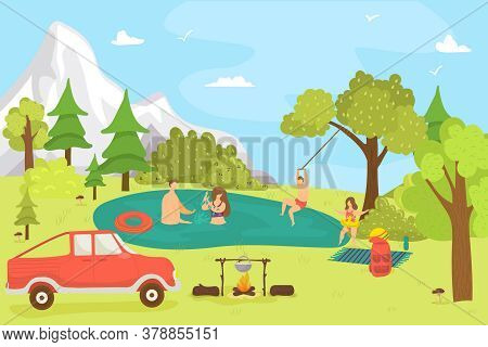 Cartoon Family In Forest, Nature Summer Landscape And People, Vector Illustration. Man Woman Charact