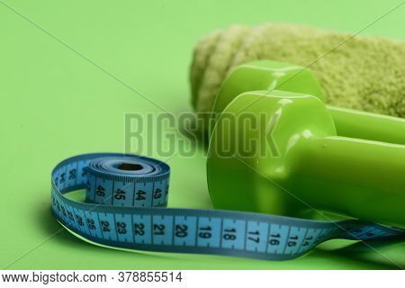 Athletics And Weight Loss Concept. Healthy Regime Equipment