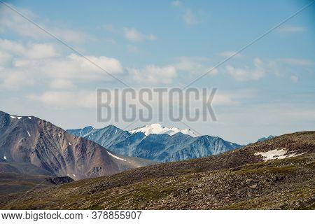 Scenic Landscape With Great Mountain Range And Glacier. Snow On Top Of Giant Mountain Ridge. Beautif