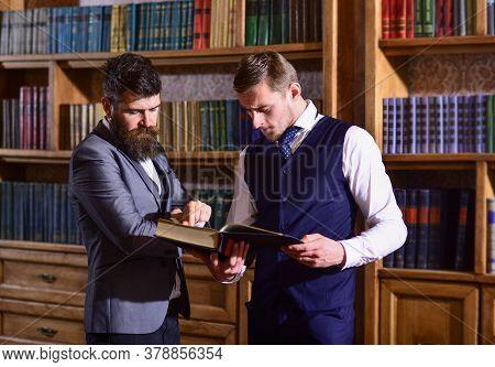 Intelligent Men Meet In Library. Intelligent Elite And Scientific People