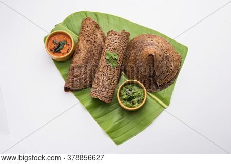 Ragi Dosamade Using Batter Offinger Millet Is A Healthy Indian Breakfast Served With Chutney