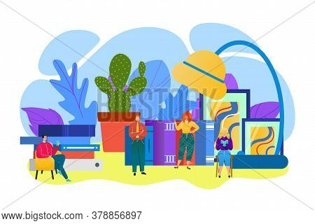 Education With Read Book Concept, Vector Illustration. People Group Cartoon Character Study In Libra