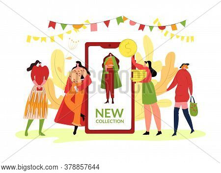 Fashion Autumn Clothes Collection, Vector Illustration. Girl People Character In Season Style Clothe