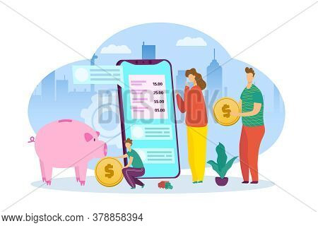 Family Budget At Smartphone, Financial Banking App Vector Illustration. Flat Money Calculator Banner