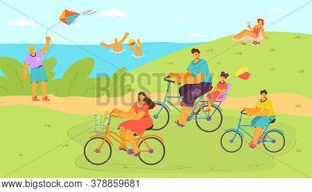 Holiday Bike Ride At Cartoon Nature With Water, Family At Vacation Vector Illustration. People Man W