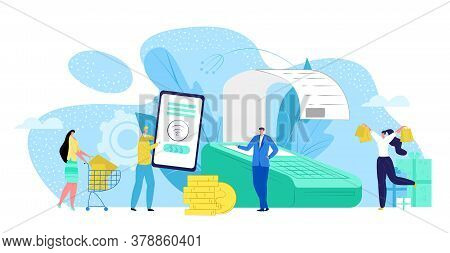 Payment Money At Terminal By Mobile Nfc Transaction Technology Concept Vector Illustration. Electron