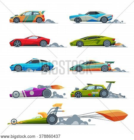 Sport Racing Cars Collection, Side View, Fast Motor Racing Bolids Vector Illustration