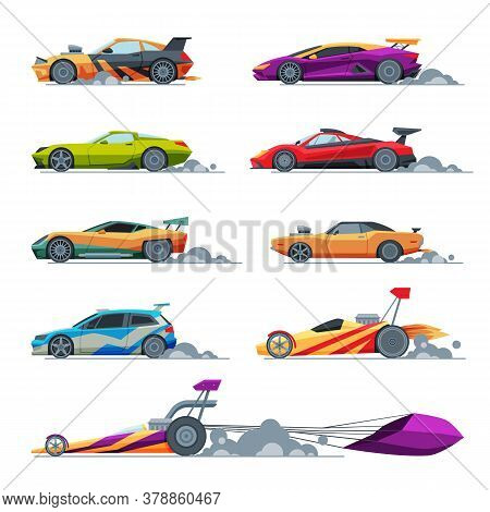 Sport Racing Cars Collection, Side View, Fast Motor Racing Modern And Retro Vehicles Vector Illustra