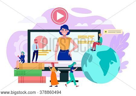 Communication At Internet Education, Learn Online Vector Illustration. World Computer Technology Kno