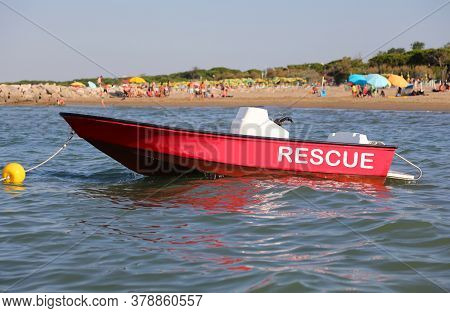 Red Motorboat With The Word Rescue For The Rescue Of Bathers In The Sea