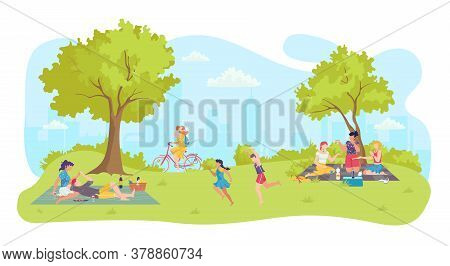 People At Cartoon Picnic, Happy Park Leisure Vector Illustration. Summer Nature Landscape And Family