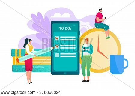 Business Plan Check Task Concept Design, Vector Illustration. People Work With Flat Smartphone, Man