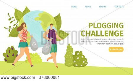 Plogging Challenge, Ecology Bag With Environment Garbage Vector Illustration. Man Woman Jogging And