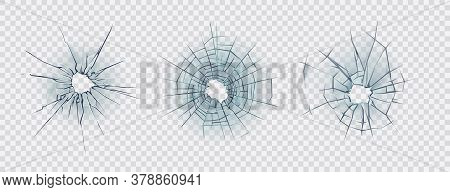 Broken glass. Set of cracked glass surface silhouette. Broken window or mirror after bullet. Vector illustration