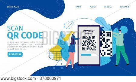 Code At Phone For App Payment, Digital Mobile Id Pay Vector Illustration. Qr Scanner Technology At F