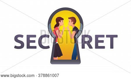 Two Persons In Keyhole Showing Shh Hand