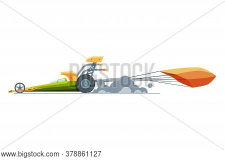 Sport Racing Car, Side View, Fast Motor Racing Bolid With Parachute Vector Illustration