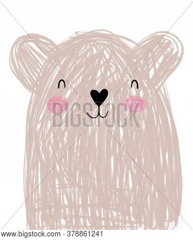 Cute Hand Drawn Vector Illustration With Sweet Dreamy Teddy Bear. Lovely Nursery Art With Funny Big