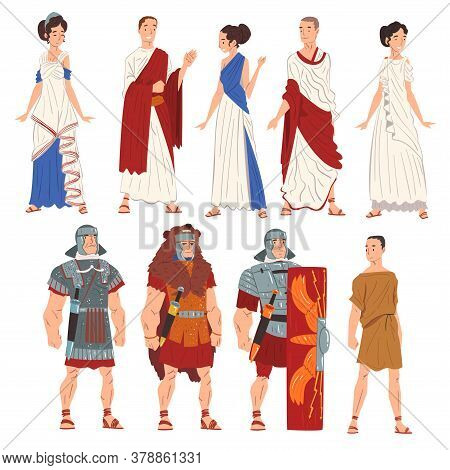 Roman Men And Women In Traditional Clothes Collection, Ancient Rome Citizens And Legionnaires Charac