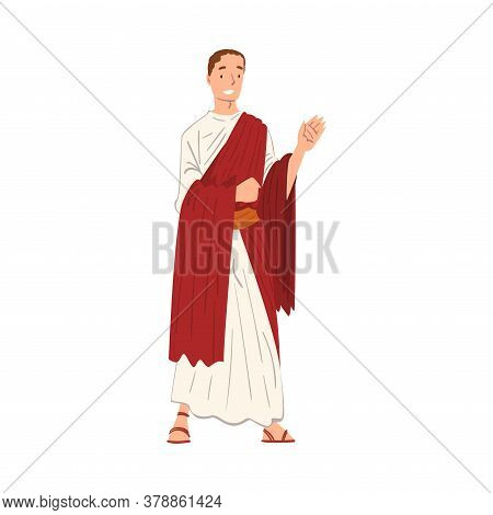 Roman Emperor In Traditional Clothes, Ancient Rome Citizen Character In Red Toga And White Tunic And