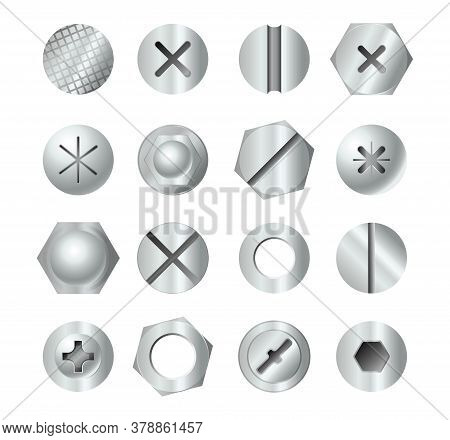 Metal Bolt Heads. Set Of Different Screw Heads Types Isolated On White Background. Industrial Top Vi
