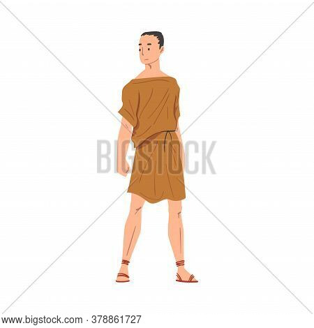 Roman Man In Traditional Clothes, Ancient Rome Plebeian Citizen Character In Tunic And Sandals Vecto