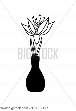 One Flower In A Vase . Ceramic Pitcher, Vase. Vector Hand Drawing In Black And White. Composition Fo