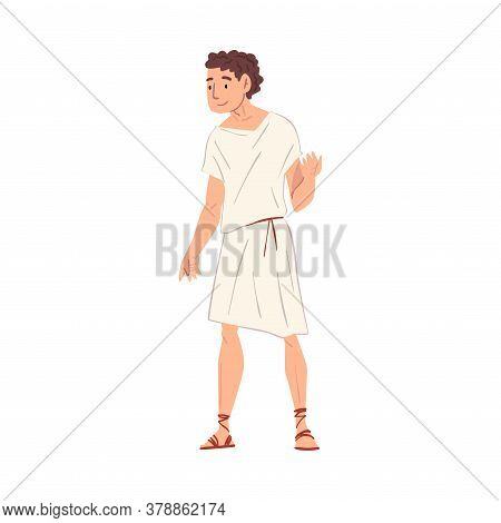 Young Roman Man In Traditional Clothes, Ancient Rome Citizen Character In White Tunic And Sandals Ve