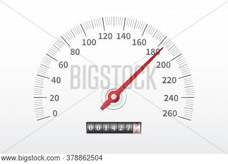 Car Speedometer. Realistic Speedometer With Speed Level Scale Isolated On White Background.