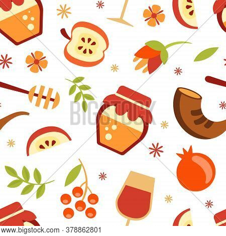 Rosh Hashanah Seamless Pattern With Symbols Of The Jewish New Year Holiday, Design Element Can Be Us