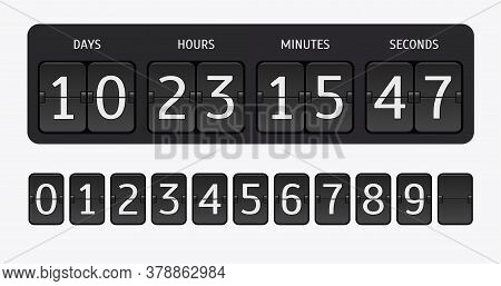 Flip Countdown Timer. Vector Time Remaining Count Down Flip Board With Scoreboard Of Day, Hour, Minu