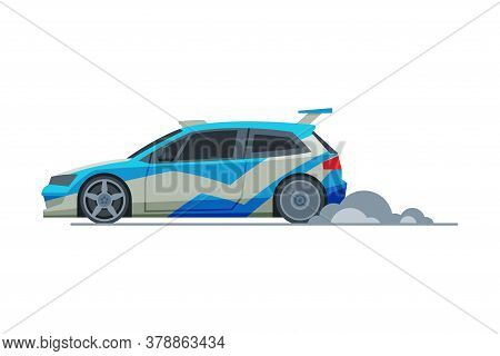 Sport Racing Car, Side View, Fast Motor Racing Vehicle Vector Illustration On White Background