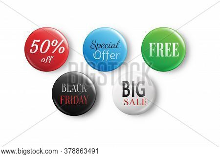 Set Of Glossy Sale Buttons. Big Sale, Special Offer, 50 Off, Black Friday. Glossy Sale Badges Isolat