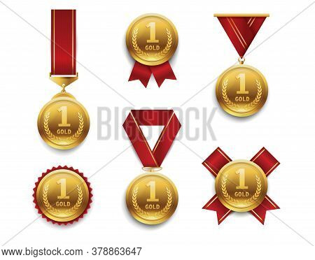 Gold Medals Set. Award Winner Trophy, 1st Placement Achievement. Round Medal With Different Red Ribb