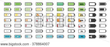 Battery Charge Indicator Icons. Indicator Of Charging Empty Batteries And Low Battery Power Icon. Ic