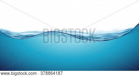 Water Wave Clean Liquid Background. Blue Sea Wave Water Surface, Fresh Ocean Underwater. Vector Illu