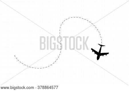 Airplane Route. Airplane Path In Dotted Line Shape. Route Of Plane Isolated