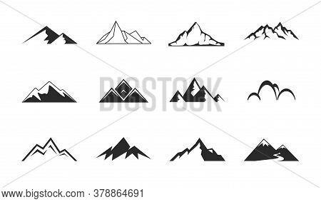 Mountains, Rocks And Peaks. Tibet Or Alps Peaks. Mountaineer Hiking Vector Icons Set.