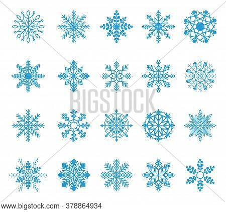 Set Of Snowflakes. Winter Blue Christmas Snow Flake Crystal Element. Weather Illustration Ice Collec