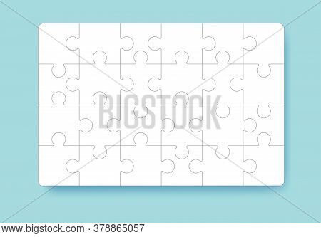 Puzzle Pieces Grid. Jigsaw Puzzle 24 Pieces, Thinking Game And 4x6 Jigsaws Detail Frame Design. Thin