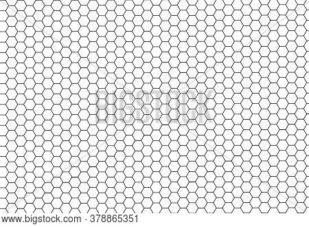 Black Hexagonal Cells Seamless Texture. Honeyed Cell Grid Texture And Geometric Hive Honeycombs. Abs