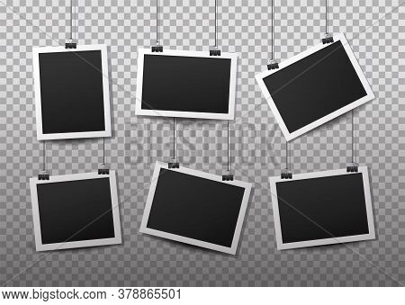 Hanging Photo Frames. Black Empty Place For Your Text Or Photo. Vertical And Horizontal Photo Design