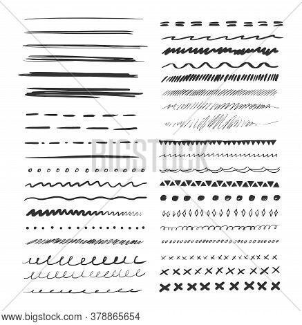 Set Of Hand Drawn Line. Grunge Pencil Line Of Black Doodle Graphite Art Texture. Vector Grungy Lines