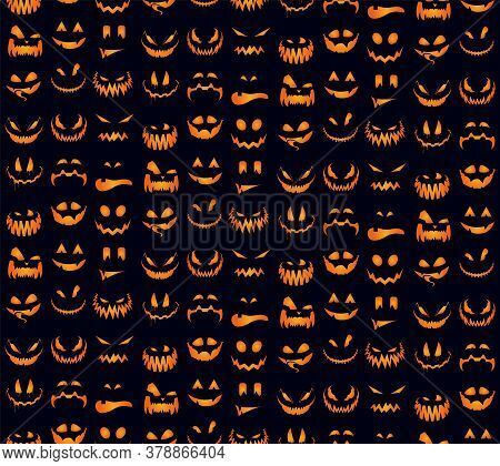 Seamless Pattern With Orange Halloween Pumpkins Carved Faces Silhouettes. Can Be Used For Scrapbook