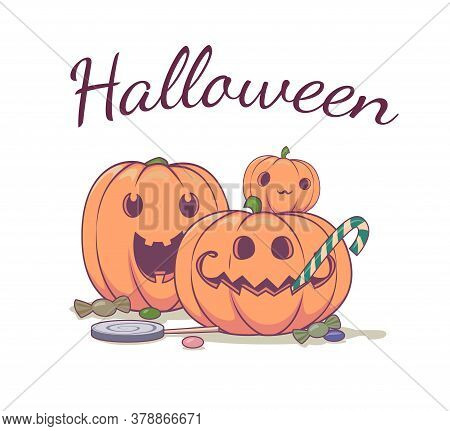 Halloween Pumpkins Illustration. Pumpkins With Sweets Banner Or Party Invitation Background. Vector