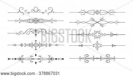 Flower Vector Dividers. Set Of Simple Decorative Page Dividers And Design Elements.